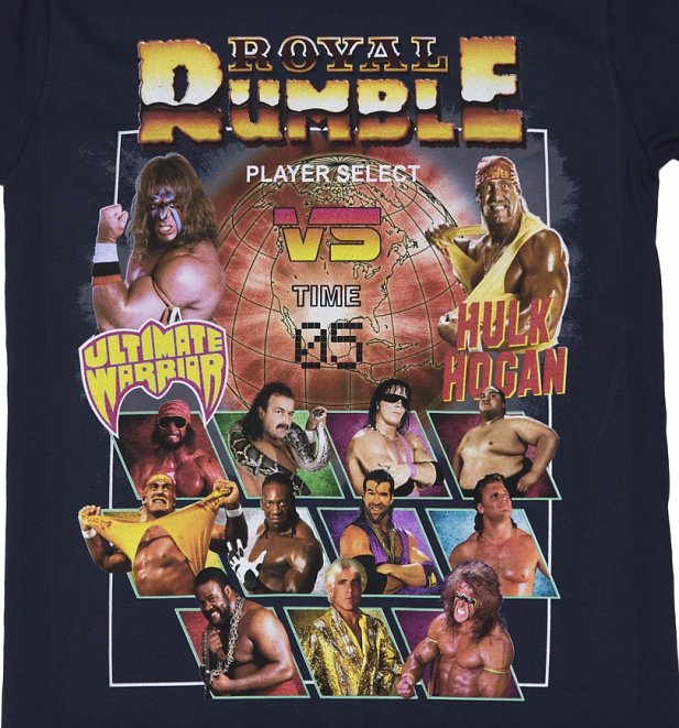 Women's Navy WWE Royal Rumble Rolled Sleeve Boyfriend T-Shirt