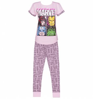 Women's Pink Marvel Comics Characters Pyjamas
