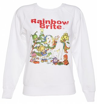 Women's White Rainbow Brite Christmas Scene Jumper