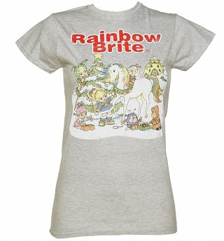 Women's Grey Marl Rainbow Brite Christmas Scene T-Shirt