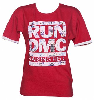 Women's Red Marl Run DMC Raising Hell Floral Logo T-Shirt from Eleven Paris