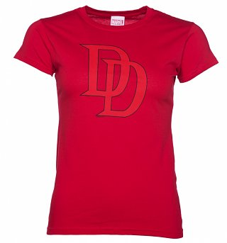 Women's Red Marvel Daredevil Logo T-Shirt