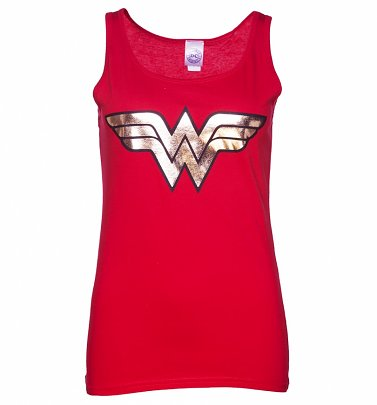 Women's Red Wonder Woman Gold Logo Tank Vest