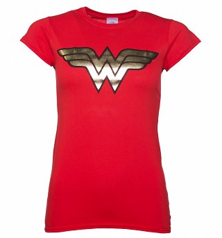 Women's Red Wonder Woman Gold Logo T-Shirt