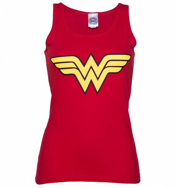Women's Red Wonder Woman Logo Tank Vest