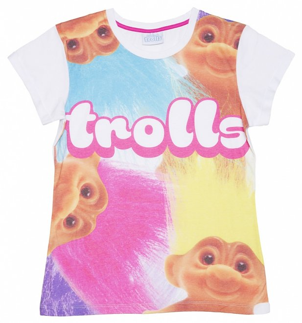 Women's Trolls All Over Sublimation Print Rolled Sleeve T-Shirt