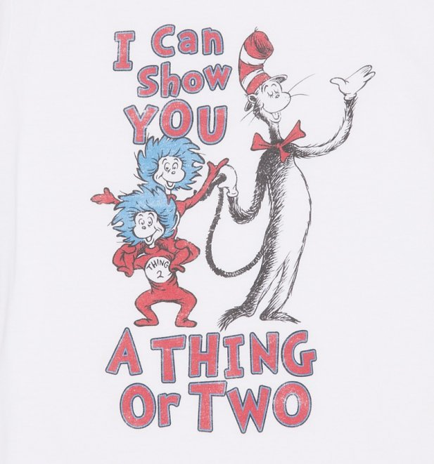 Women's White Dr Seuss Thing Or Two T-Shirt