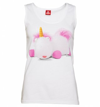 Women's White Fluffy The Unicorn Minions Vest