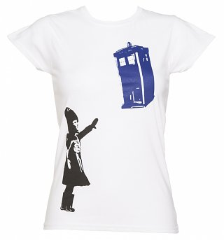 Women's White Stencil Doctor Who TARDIS T-Shirt