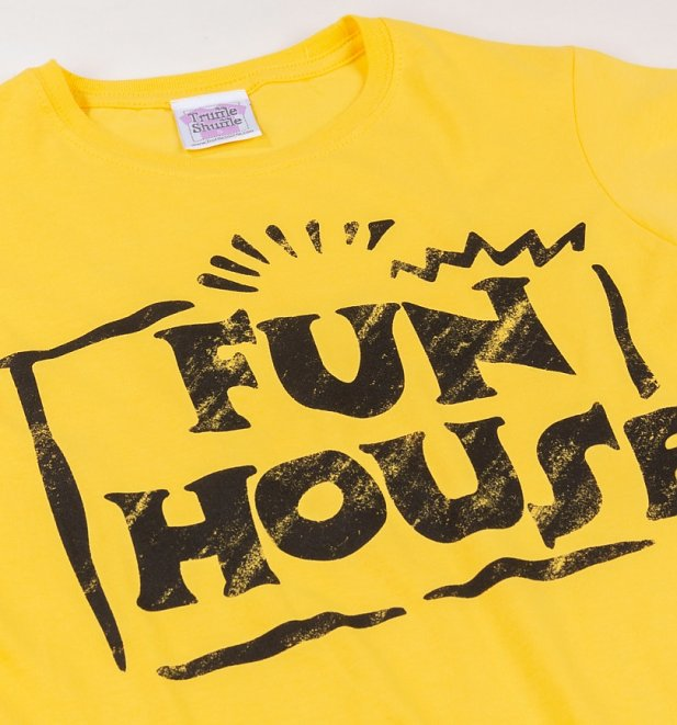 Women's Yellow Team Fun House Logo Fitted T-Shirt