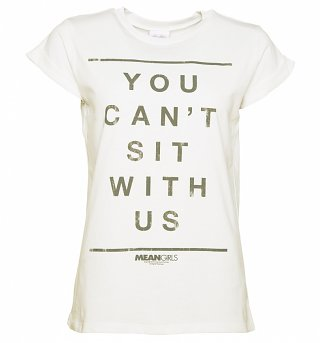 Women's You Can't Sit With Us Mean Girls Slogan Rolled Sleeve Boyfriend T-Shirt