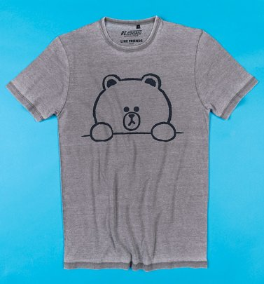 Line Friends Brown Outline Vintage Grey T-Shirt from Recovered