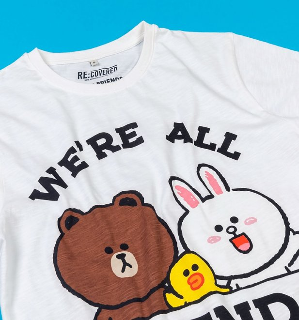 Line Friends We're All Friends Off White Slub T-Shirt from Recovered