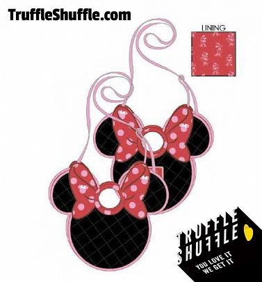 Lougefly Disney Minnie Mouse Quilted Bow Head Cross Body Bag