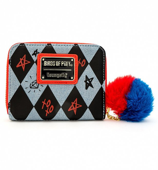 Loungefly DC Comics Birds of Prey Harley Quinn Eyes Zip Around Wallet