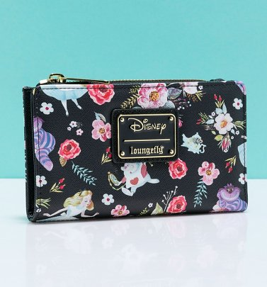 Loungefly Disney Alice In Wonderland Floral All Over Print Black Zip Around Wallet