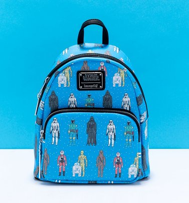 Loungefly Disney Star Wars Action Figures All Over Print Mini Backpack