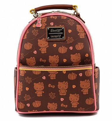 Loungefly Hello Kitty Pumpkin Spice All Over Print Convertible Mini Backpack