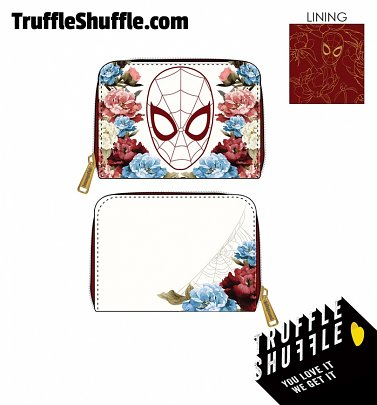 Loungefly Marvel Spiderman Floral Zip Around Wallet