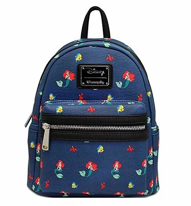 Loungefly x Disney Ariel, Flounder and Sebastian Little Mermaid Mini Faux Leather Backpack
