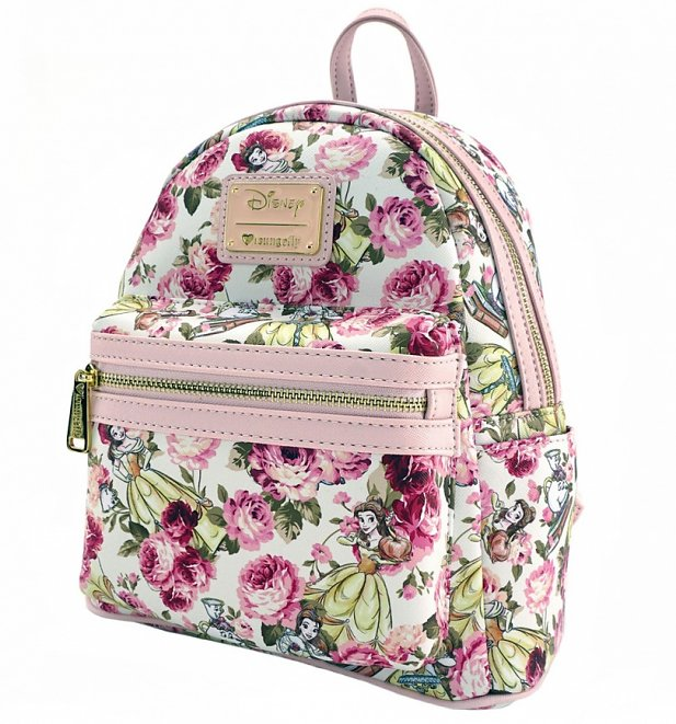 Loungefly x Disney Beauty and the Beast Character Floral Print Mini Faux Leather Backpack