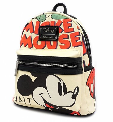 Loungefly x Disney Mickey Mouse Classic Print Faux Leather Mini Backpack