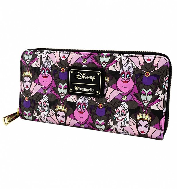 Loungefly x Disney Villains Pink and Purple Print Wallet