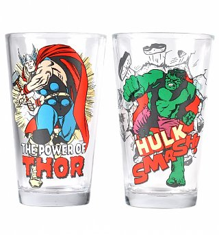 Marvel Comics Hulk And Thor Set Of 2 Glasses