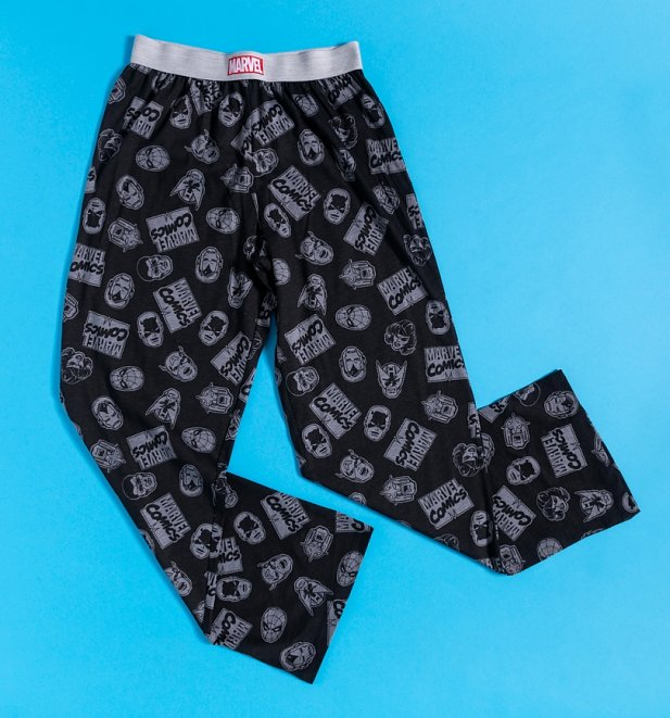 Marvel Comics Monochrome Heads and Logos Lounge Pants from Recovered