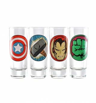 Marvel Comics Set Of Four Mini Character Symbols Glasses