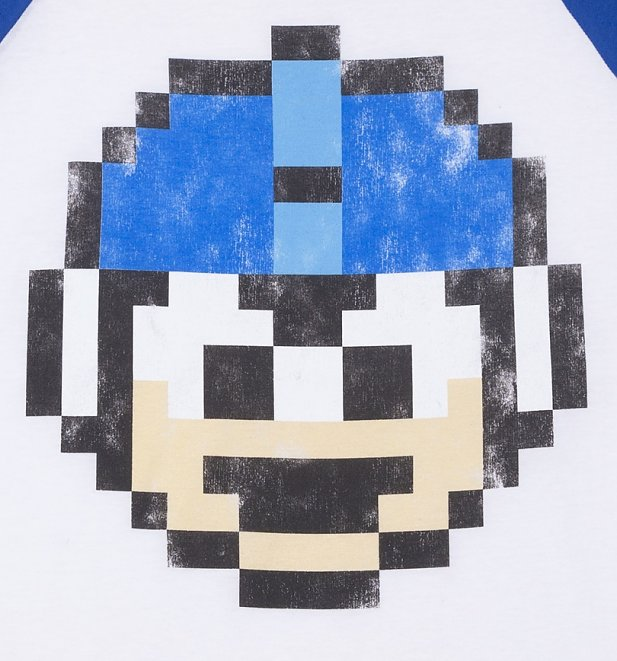 Mega Man 1 Up White And True Royal Raglan Baseball T-Shirt