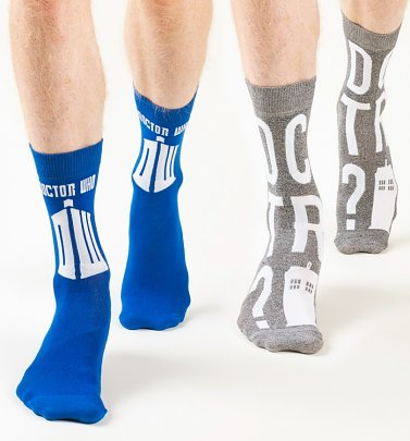 Men's 2pk Doctor Who Tardis Socks