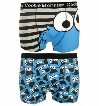 Men's 2pk Sesame Street Cookie Monster Boxer Shorts