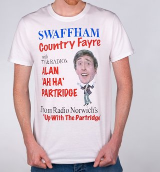 Men's Alan Partridge Swaffham Country Fayre White T-Shirt