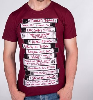 Men's Alan Partridge's Ideas For Television Shows Maroon T-Shirt
