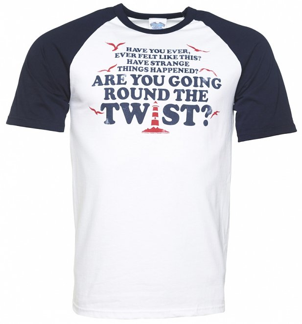 Men's Are You Going Round The Twist White And Navy Raglan Baseball T-Shirt