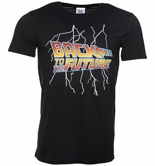 Men's Back to the Future Lightning Bolt Black T-Shirt