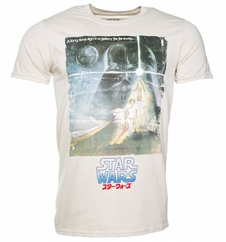 Men's Beige Star Wars A New Hope Japanese Movie Poster T-Shirt