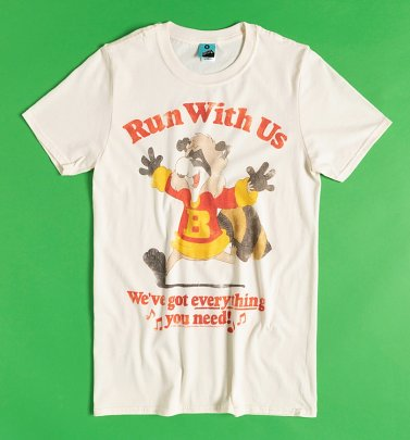 Men's Bert Raccoon Run With Us Ecru T-Shirt