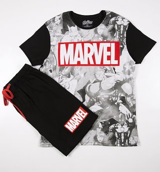 Men's Big Marvel Logo Shortie Pyjamas
