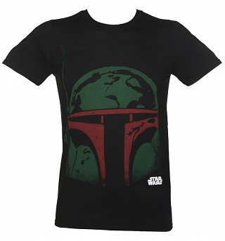Men's Black Boba Fett Head Star Wars T-Shirt