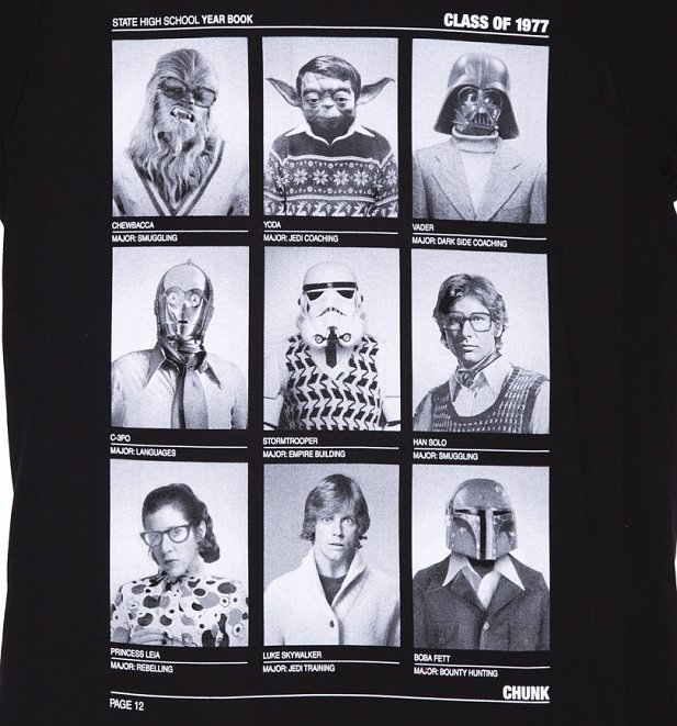 Men's Black Class Of 77 Star Wars T-Shirt from Chunk