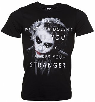 Men's Black Dark Knight The Joker Stranger Quote T-Shirt