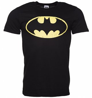 Men's Black Distressed Batman Logo T-Shirt