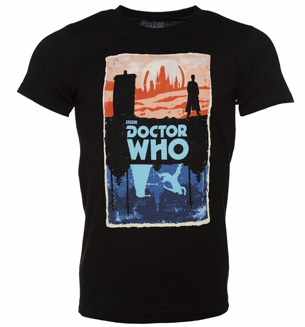 Men's Black Doctor Who Gallifrey And Skaro T-Shirt