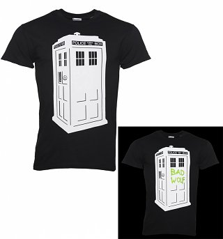 Men's Black Doctor Who TARDIS Glow In The Dark T-Shirt