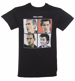 Men's Black Doctor Who Time Lords Album Parody T-Shirt