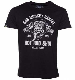 Men's Black Fast N' Loud Gas Monkey Garage Hot Rod Shop Premium T-Shirt