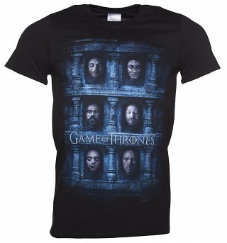 Men's Black Game Of Thrones Heads T-Shirt