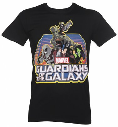 Men's Black Guardians Of The Galaxy Group Logo Marvel T-Shirt